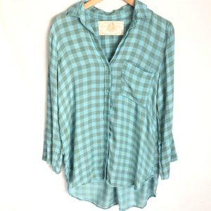 Bella Dahl Plaid Green Button Down Shirt L Rayon